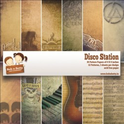 "BobNBetty Scrapbook Paper Pack - Disco Station (6""x6"") - 36 sheets"