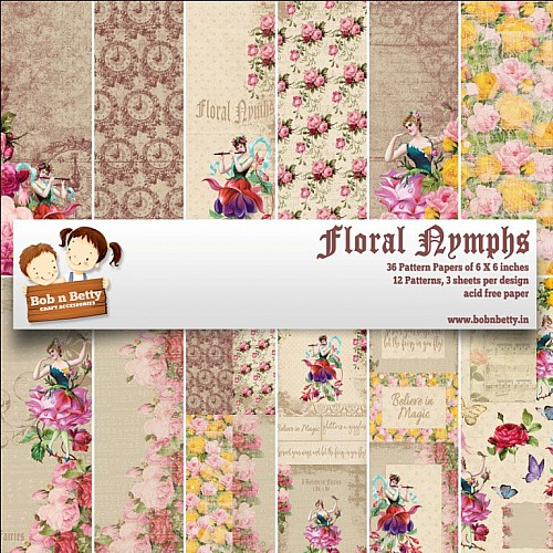 "BobNBetty Scrapbook Paper Pack - Floral Nymphs (6""x6"") - 36 sheets"