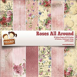 """BobNBetty Scrapbook Paper Pack - Roses All Around (6""""x6"""") - 36 sheets"""