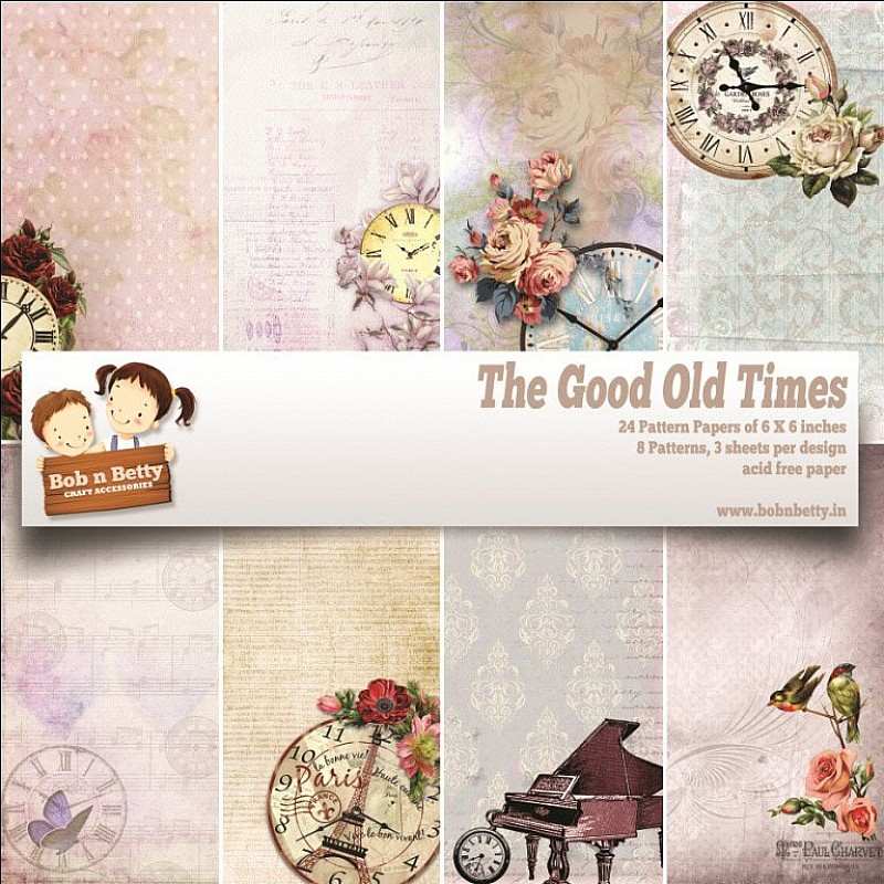buy bobnbetty scrapbook paper pack the good old times 6 x6 24 sheets online in india at. Black Bedroom Furniture Sets. Home Design Ideas