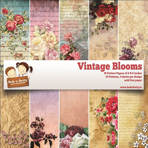 "BobNBetty Scrapbook Paper Pack - Vintage Blooms (6""x6"") - 30 sheets"