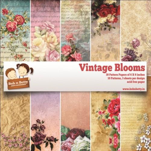 "BobNBetty Scrapbook Paper Pack - Vintage Blooms (6""x6"") - 30 sheets"