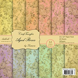 "CrafTangles Scrapbook Paper Pack - Aged Roses (12""x12"")"
