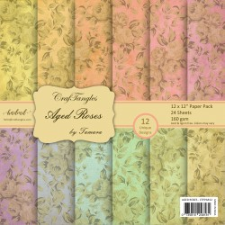 CrafTangles Scrapbook Paper Pack - Aged Roses (12x12)