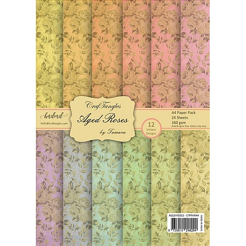 CrafTangles Scrapbook Paper Pack - Aged Roses (A4)