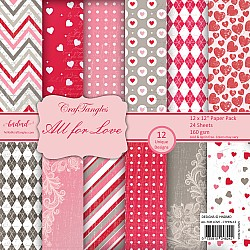 "CrafTangles Scrapbook Paper Pack - All For Love (12""x12"")"
