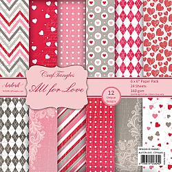 "CrafTangles Scrapbook Paper Pack - All For Love (6""x6"")"