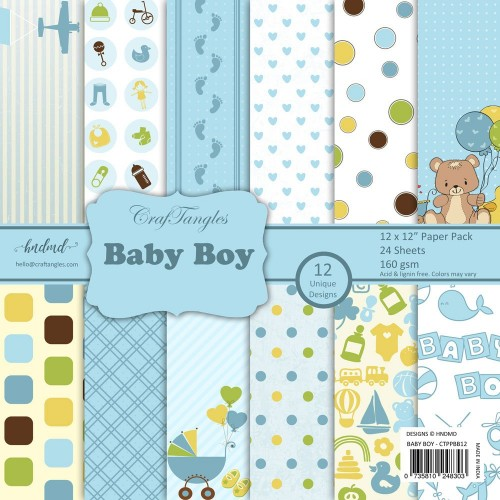 CrafTangles Scrapbook Paper Pack - Baby Boy (12x12)