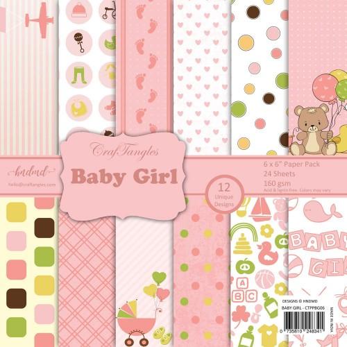 "CrafTangles Scrapbook Paper Pack - Baby Girl (6""x6"")"