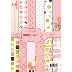 CrafTangles Scrapbook Paper Pack - Baby Girl (A4)