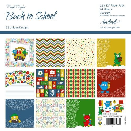 "CrafTangles Scrapbook Paper Pack - Back to School (12""x12"")"
