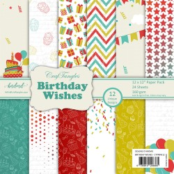 "CrafTangles Scrapbook Paper Pack - Birthday Wishes (12""x12"")"