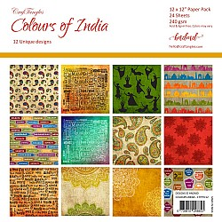 "CrafTangles Scrapbook Paper Pack - Colours Of India (12""x12"")"