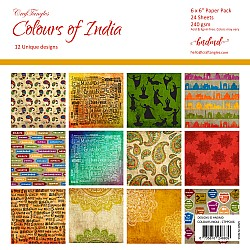"CrafTangles Scrapbook Paper Pack - Colours Of India (6""x6"")"