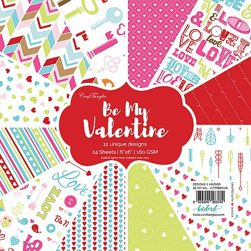 "CrafTangles Scrapbook Paper Pack - Be my Valentine (6""x6"")"