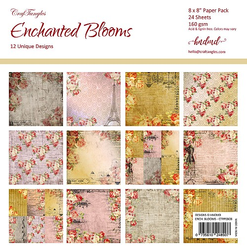 "CrafTangles Scrapbook Paper Pack - Enchanted Blooms (8""x8"")"