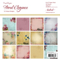 "CrafTangles Scrapbook Paper Pack - Floral Elegance (8""x8"")"