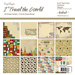 "CrafTangles Scrapbook Paper Pack - I Travel the World (6""x6"")"
