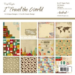 "CrafTangles Scrapbook Paper Pack - I Travel the World (8""x8"")"
