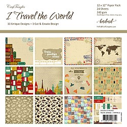"CrafTangles Scrapbook Paper Pack - I Travel the World (12""x12"")"