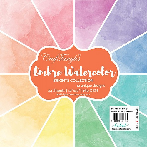 "CrafTangles Scrapbook Paper Pack - Ombre Watercolor - Brights (12""x12"")"