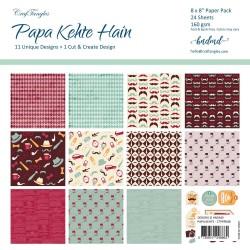 "CrafTangles Scrapbook Paper Pack - Papa Kehte Hain (8""x8"")"