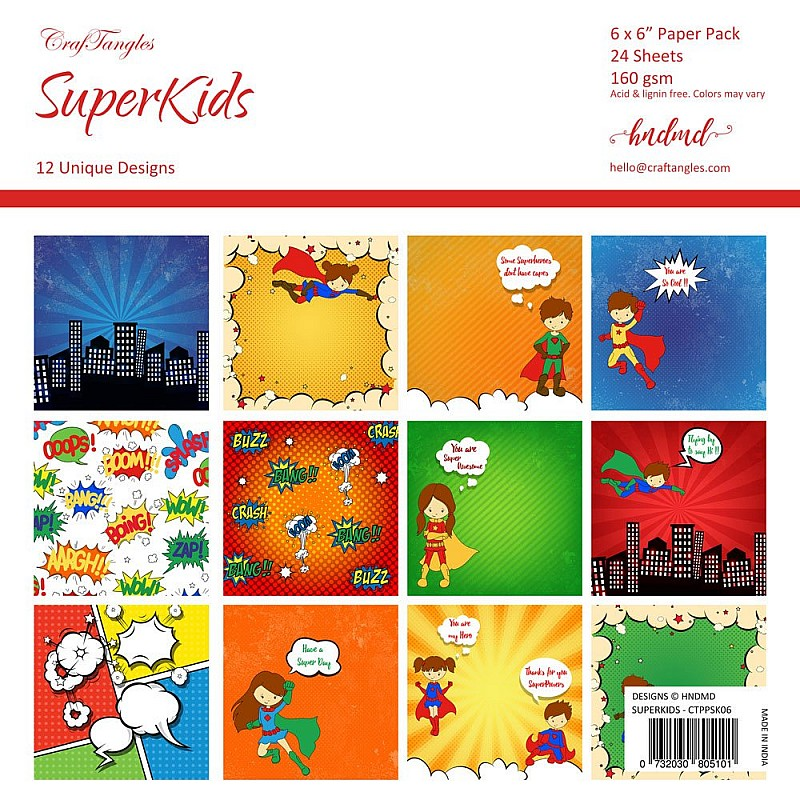 Buy CrafTangles Scrapbook Paper Pack - SuperKids (6\