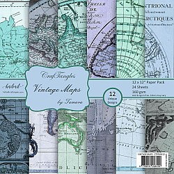 "CrafTangles Scrapbook Paper Pack - Vintage Maps (12""x12"")"