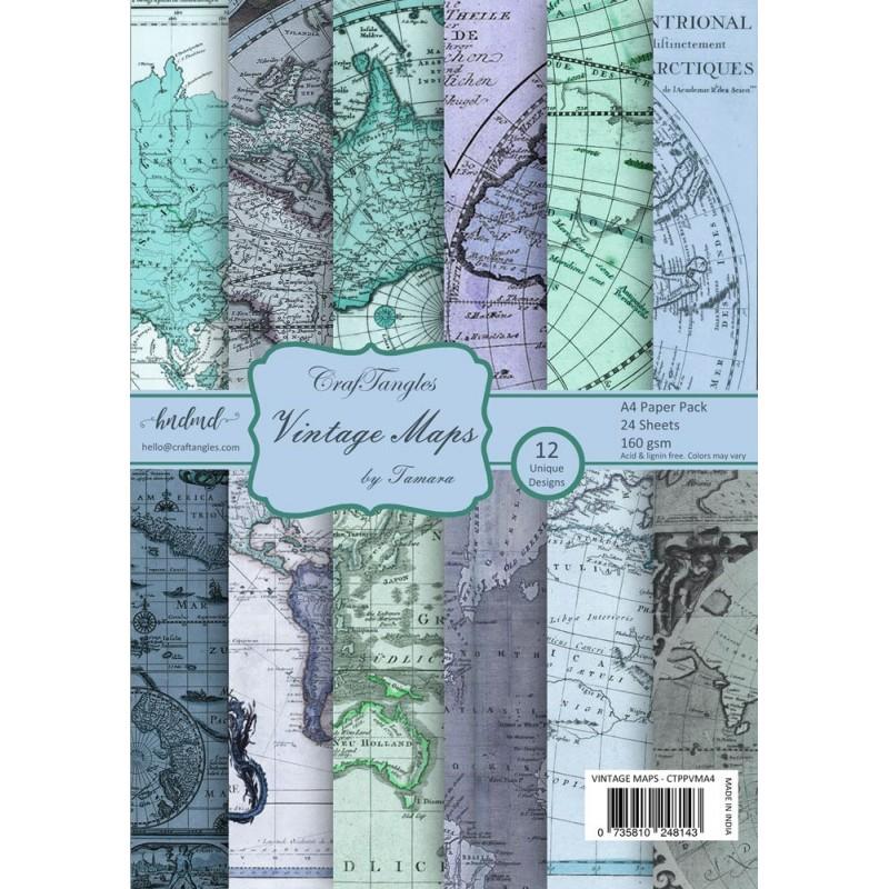 Buy CrafTangles Scrapbook Paper Pack Vintage Maps A Online In - Buy vintage maps