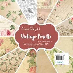 "CrafTangles Scrapbook Paper Pack - Vintage Rosette (12""x12"")"