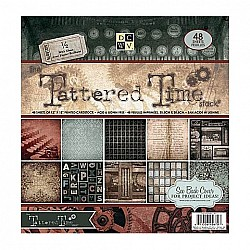 Die Cuts with a View - Tattered Time - 12x12 Paper Stack with Gloss (48 sheets/pkg)