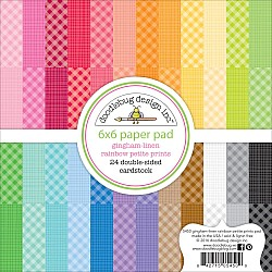 """Doodlebug Double-Sided Paper Pad 6""""X6"""" 24/Pkg Petite Prints - Gingham and Linen"""