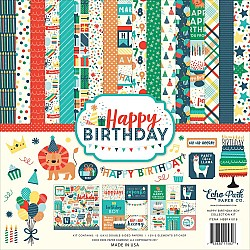 EchoPark paper pad - Happy Birthday Boy Collection Kit (12 by 12 inch)