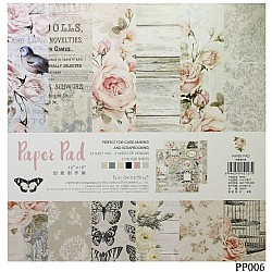 10x10 EnoGreeting Scrapbook paper pack - Pink Florals (PP006) (Set of 24 sheets 2 die cut sheets)