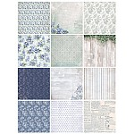 10x10 EnoGreeting Scrapbook paper pack - Blue Florals (PP007) (Set of 24 sheets 2 die cut sheets)