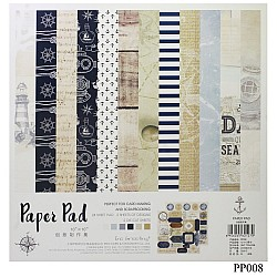 10x10 EnoGreeting Scrapbook paper pack - Nautical (PP008) (Set of 24 sheets and 2 die cut sheets)