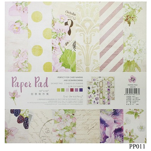 10x10 EnoGreeting Scrapbook paper pack - Lavender (PP011) (Set of 24 sheets and 2 die cut sheets)