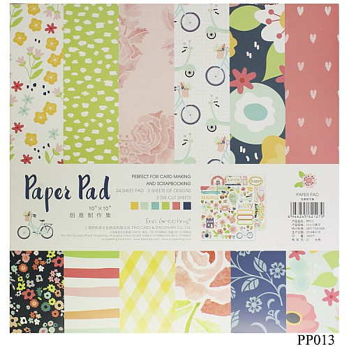 10x10 EnoGreeting Scrapbook paper pack - Floral (PP013) (Set of 24 sheets and 2 die cut sheets)