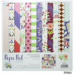 10x10 EnoGreeting Scrapbook paper pack - Floral (PP001) (Set of 24 sheets and 2 die cut sheets)