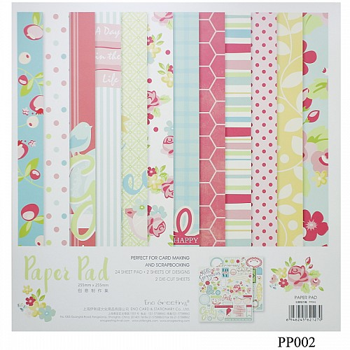 10x10 EnoGreeting Scrapbook paper pack - Floral (PP002) (Set of 24 sheets and 2 die cut sheets)