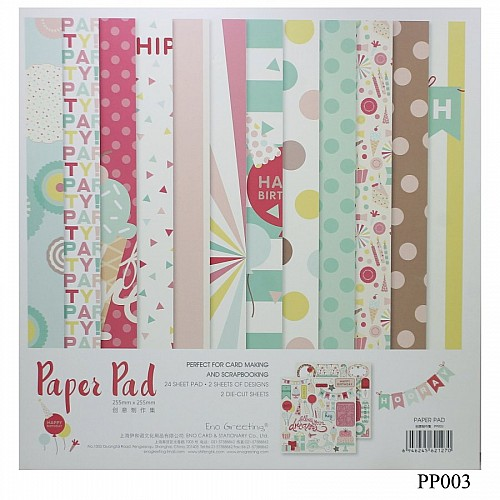 10x10 EnoGreeting Scrapbook paper pack - Birthday (PP003) (Set of 24 sheets and 2 die cut sheets)