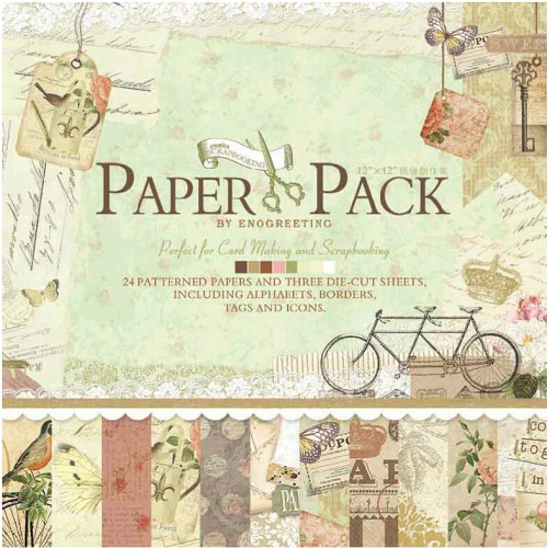 12x12 EnoGreeting Scrapbook paper pack - Comfortable Afternoon (24 sheets and 3 die cut sheets)