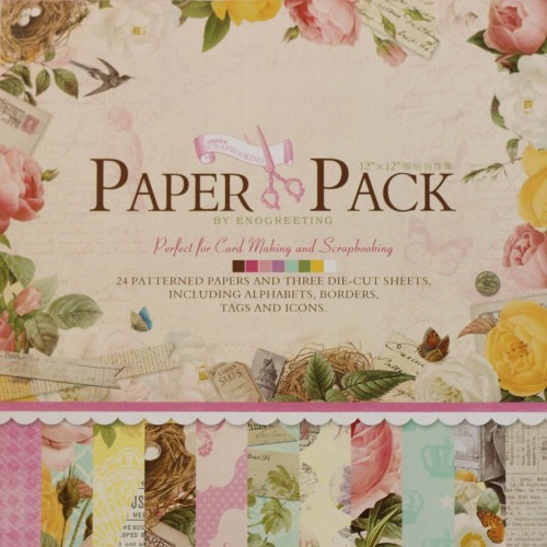 12x12 EnoGreeting Scrapbook paper pack - Flowers (Set of 24 sheets and 3 die cut sheets) PS007