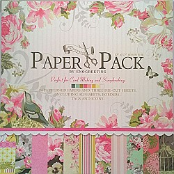 12x12 EnoGreeting Scrapbook paper pack - Happy Birthday Paper Stack (Set of 24 sheets and 3 die cut sheets)