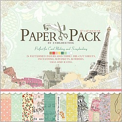 12x12 EnoGreeting Scrapbook paper pack - Reminiscence (Set of 24 sheets and 3 die cut sheets)
