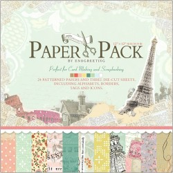 12x12 EnoGreeting Scrapbook paper pack - Reminiscence Paper Stack (Set of 24 sheets and 3 die cut sheets)
