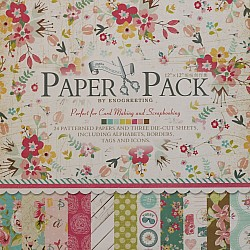 12x12 EnoGreeting Scrapbook paper pack - Sweet Life Paper Stack (Set of 24 sheets and 3 die cut sheets)