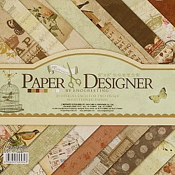 8x8 EnoGreeting Scrapbook paper pack - Comfortable Afternoon (Set of 40 sheets)