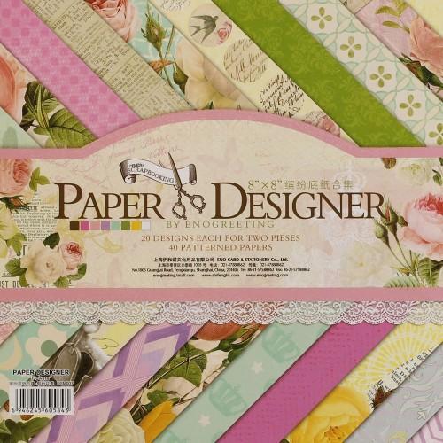 8x8 EnoGreeting Scrapbook paper pack - Flowers (Set of 40 sheets)