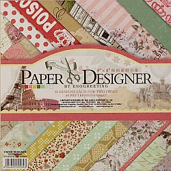 8x8 EnoGreeting Scrapbook paper pack - Reminiscence (Set of 40 sheets)